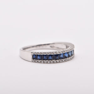 Princess Cut Sapphire and Diamond Band Dress Ring