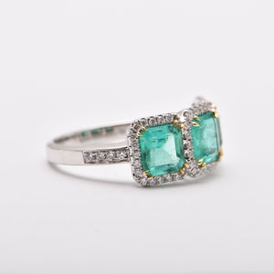 Emerald and Diamond Halo Trilogy Dress Ring