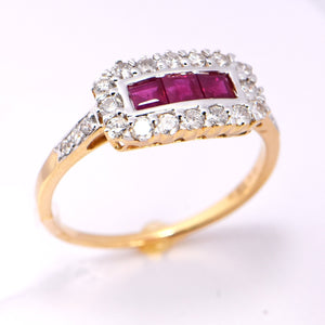 Ruby Diamond Princess Cut 18 Carat Two-Tone Ring