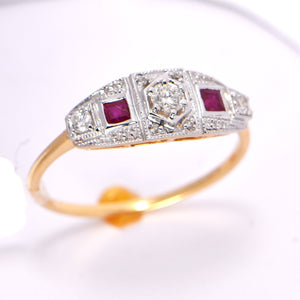Ruby Diamond Ring 18 Carat Two-Tone Gold