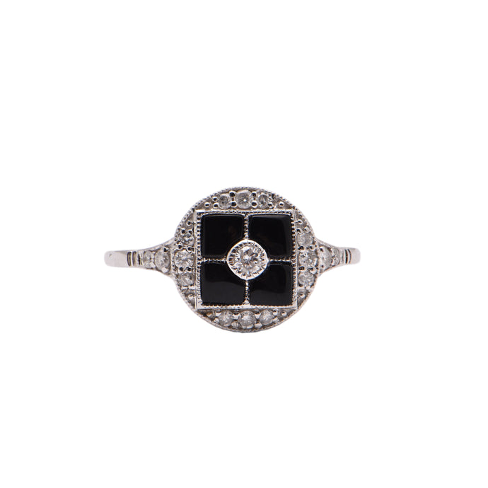 Onyx and Diamond Art Deco Style Dress Ring
