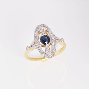 Sapphire Diamond 18 Carat Two-Tone Ring