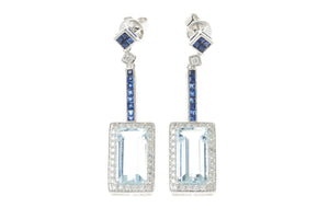 A PAIR OF DECO STYLE AQUAMARINE DIAMOND AND SAPPHIRE EARRINGS