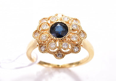 SAPPHIRE DIAMOND CLUSTER 18 CARAT YELLOW GOLD RING