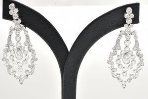 A PAIR OF FILIGREE DIAMOND DROP EARRINGS IN 18CT WHITE GOLD