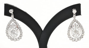 A PAIR OF DIAMOND DROP EARRINGS TOTALLING APPROXIMATELY 1.80CTS, IN 18CT WHITE GOLD