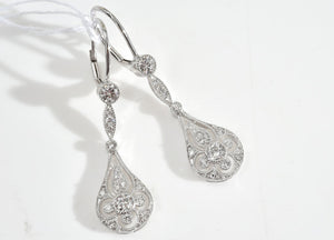 A PAIR OF ART DECO STYLE DIAMOND DROP EARRING - Each one set with round brilliant cut diamonds in an openwork setting, in 18ct white gold.