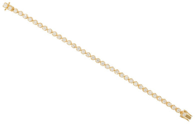 Diamond Bracelet Tennis 3.73 Carat 18 Carat Yellow Gold