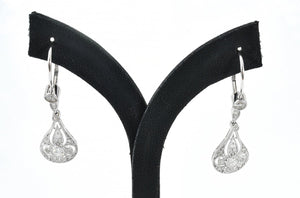 A PAIR OF ART DECO STYLE DIAMOND DROP EARRINGS