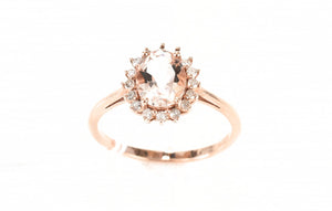 Ring Gold Morganite Diamond Engagement Rose Natural Valuation 10k 10ct Diamonds Oval Halo