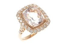 AN 18CT ROSE GOLD MORGANITE AND DIAMOND COCKTAIL RING