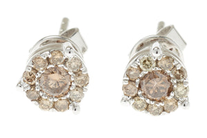 COGNAC DIAMOND CLUSTER STUD 18 CARAT WHITE GOLD EARRINGS