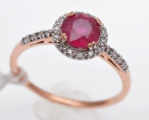 10ct Rose Gold Ruby & Diamond Ring (or Yellow Gold)