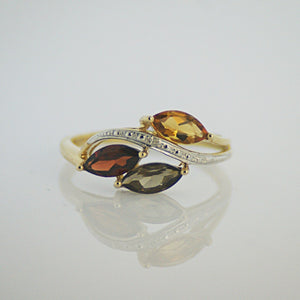 Diamond Ring Citrine Garnett Quartz Multi Gem Yellow Gold 9ct Solid 9k Natural Genuine Valuation