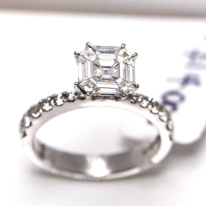 1.24 Carat Cushion Cut Modified Brilliant Diamond Engagement Ring 18 Carat White Gold