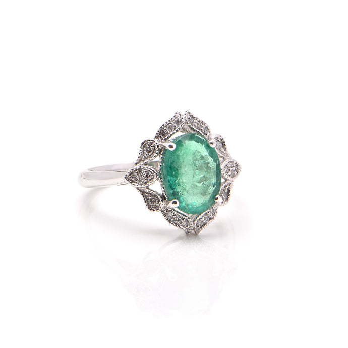 Oval Emerald and Diamond Dress Ring in Platinum
