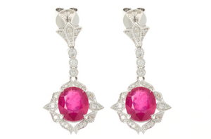 RUBY AND DIAMOND DECO STYLE 18CT WHITE GOLD EARRINGS