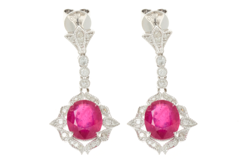A PAIR OF 18CT WHITE GOLD RUBY AND DIAMOND EARRINGS