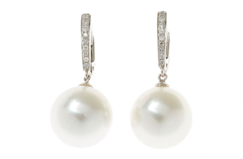A PAIR OF SOUTH SEA PEARL AND DIAMOND EARRINGS