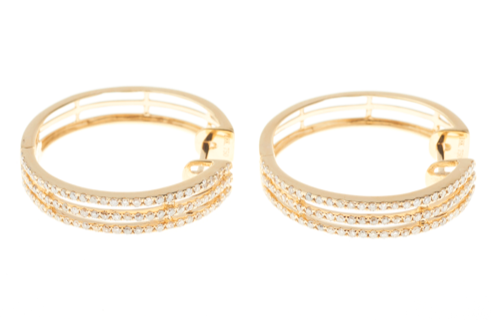 A PAIR OF 18CT GOLD DIAMOND HOOP EARRINGS