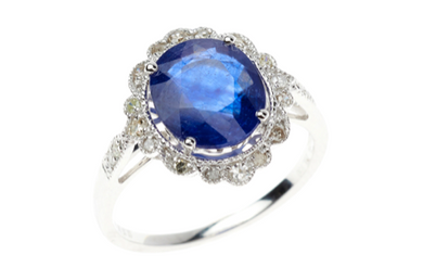AN EDWARDIAN STYLE SAPPHIRE AND DIAMOND RING
