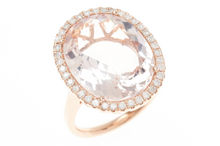 A LARGE 18CT ROSE GOLD MORGANITE AND DIAMOND COCKTAIL RING