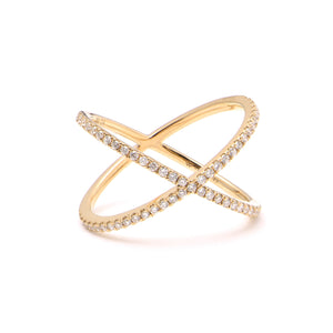 Diamond Crossover Band Ring