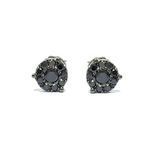 BLACK DIAMOND CLUSTER STUD 18 CARAT WHITE GOLD EARRINGS