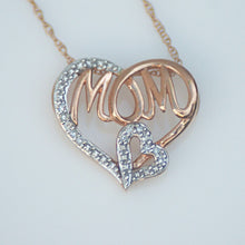 "10ct Rose Gold Chain and Heart Shaped ""Mom"" Pendant Weight = 1.7 grams, DIA = 0.04ct"