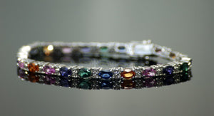 NEW Multi Coloured Semi Precious Stone Tennis Bracelet Stamped Sterling Silver 925