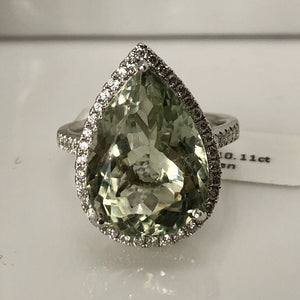 PEAR AMETHYST PROSALITE GREEN DIAMOND 18CT WHITE GOLD RING
