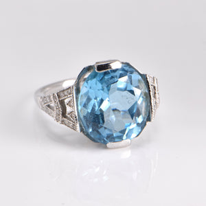 Topaz and Diamond 18ct White Gold Dress Ring