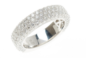 1.98 Carat Pave Diamond Wedding Band Ring 18 Carat White Gold