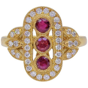 Ruby Art Deco Style Three Row Diamond 18 Carat Yellow Gold Dress Ring
