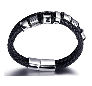 Black Men's Leather Bracelet with Stainless Steel Clasp