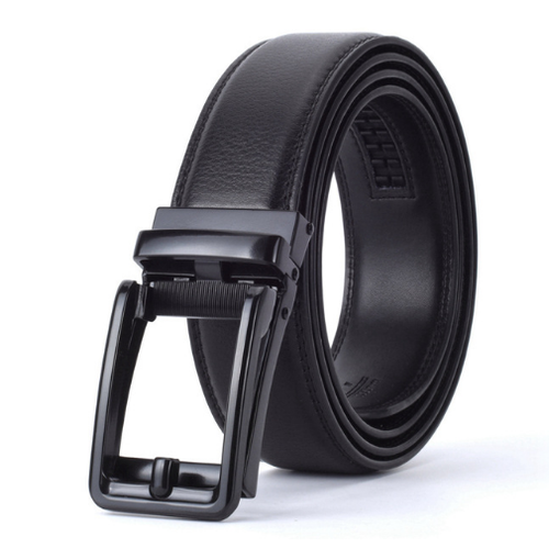 Black belt with hollow cowhide buckle