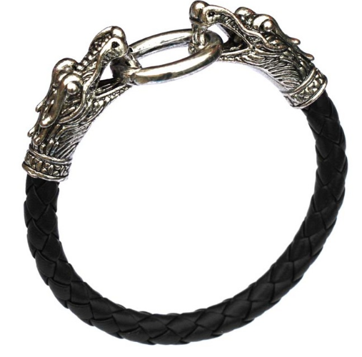 Male leather bracelet with the head of the Chinese dragon