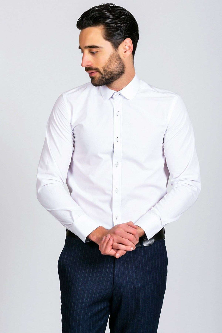 Marc Darcy Arthur Plain White Penny Collar Shirt