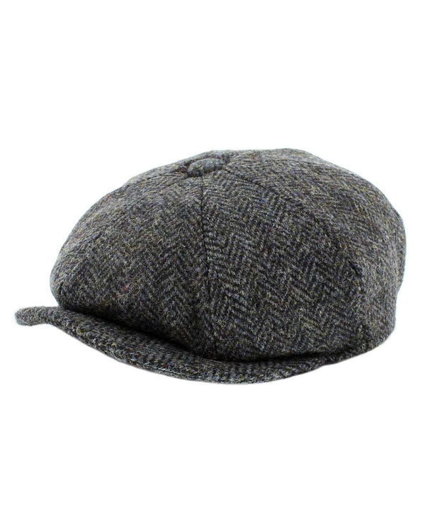 Failsworth Harris Tweed Carloway Bakerboy Cap In Grey/Blue Pattern - Revolver Menswear Bawtry