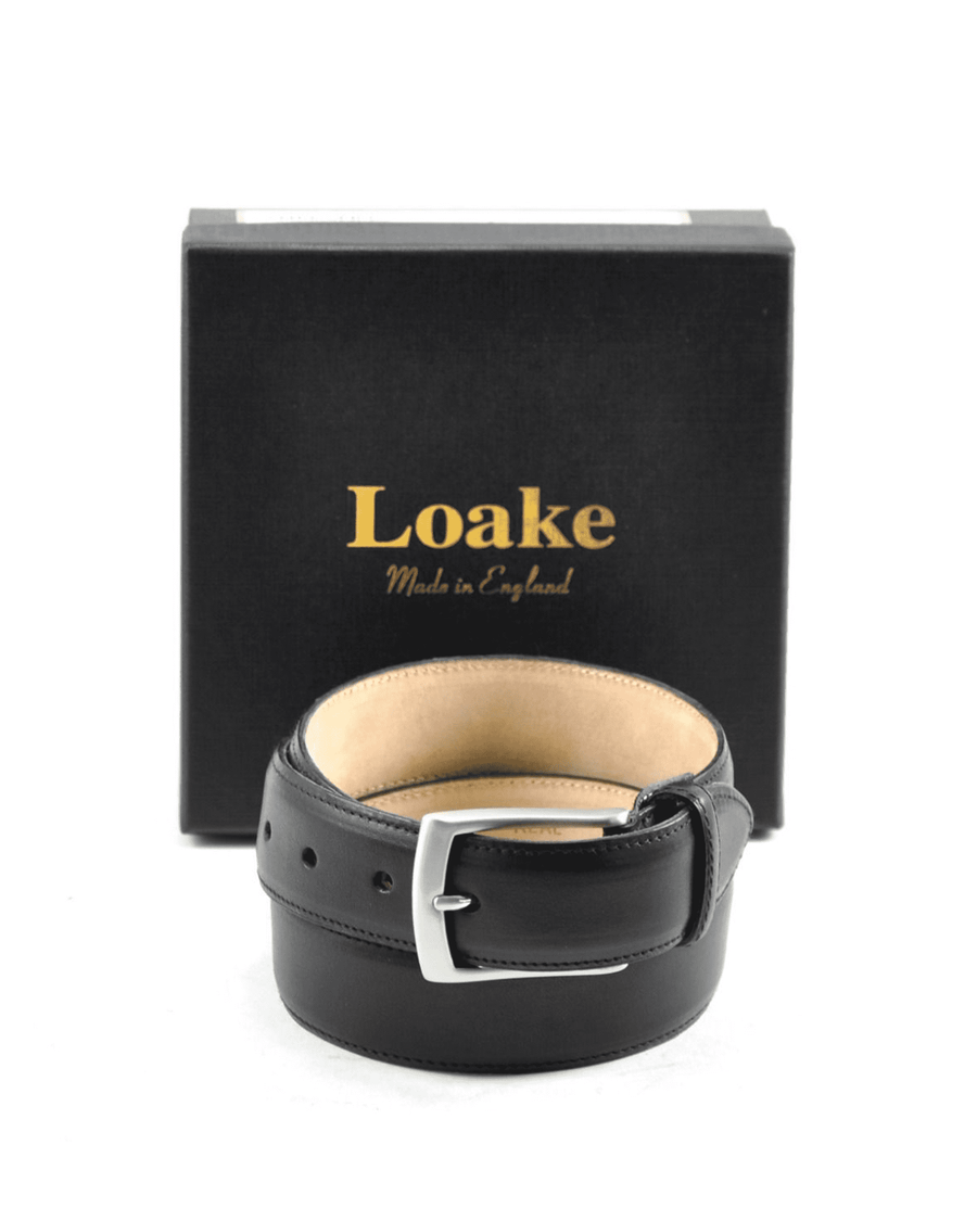 Loake Black Leather Henry Belt
