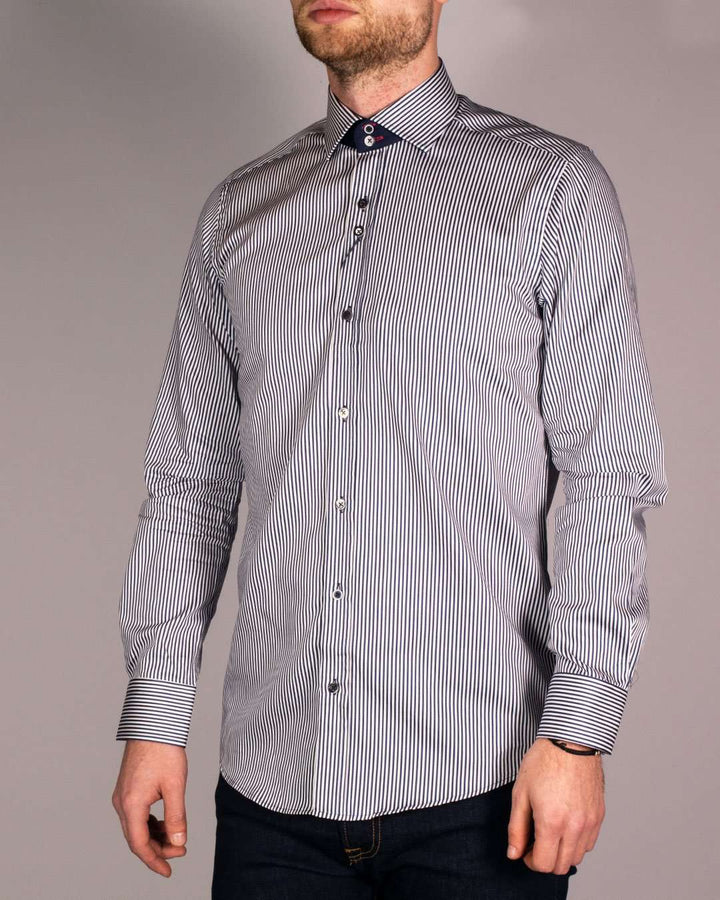Guide London Navy Striped Pure Cotton Mixed Button Long Sleeved Shirt