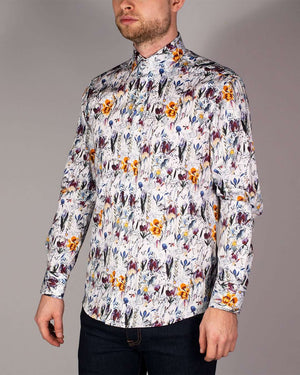 Guide London White Pure Cotton Floral Printed Long Sleeved Shirt