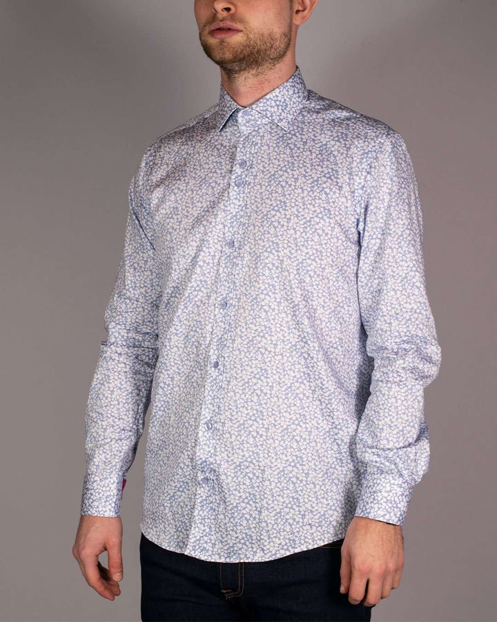 Guide London Sky Blue Pure Cotton Mini Leaf Printed Long Sleeved Shirt