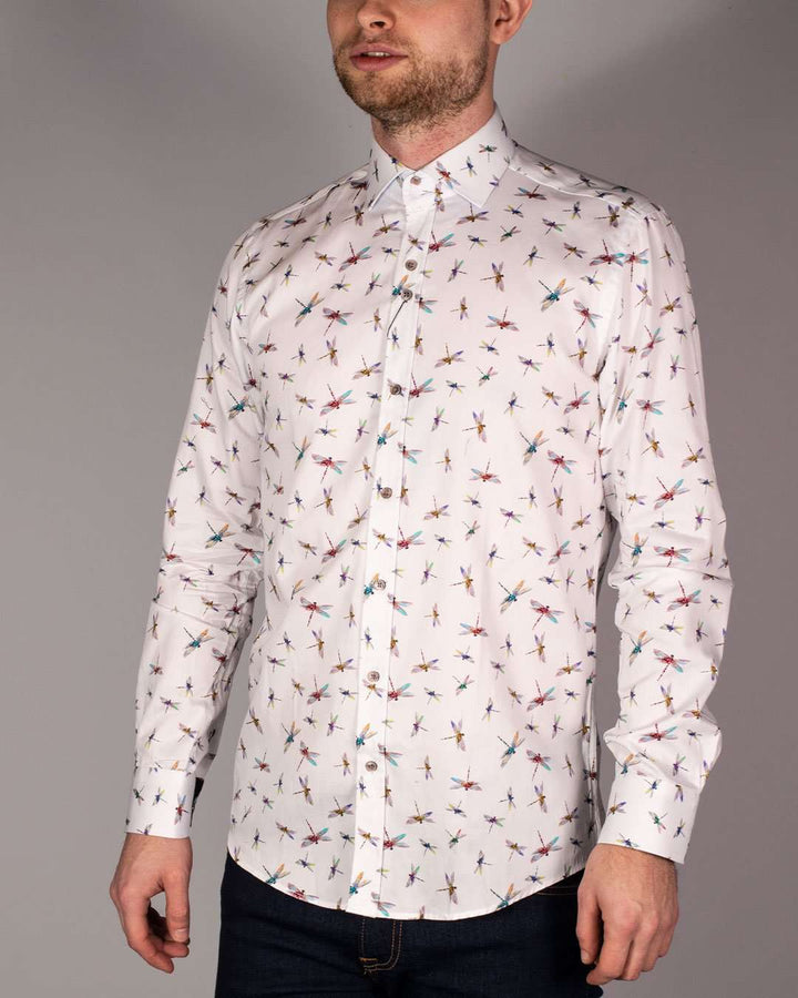 Guide London White Pure Cotton Dragonfly Printed Long Sleeved Shirt