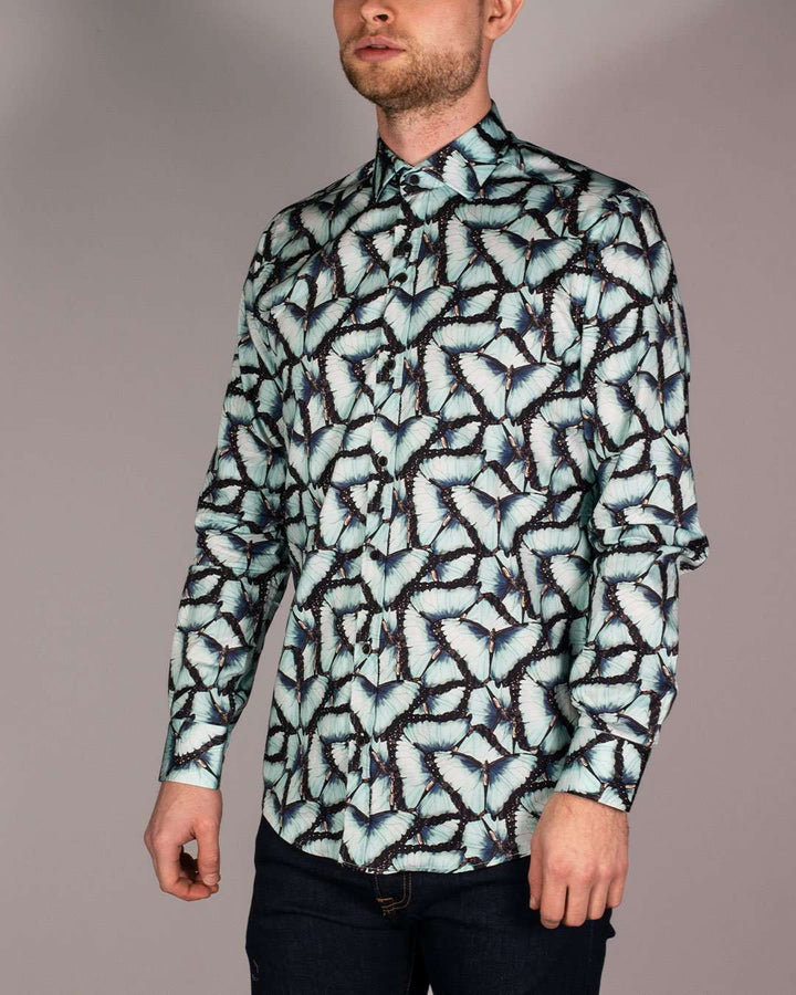 Guide London Blue Pure Cotton Moth Printed Long Sleeved Shirt