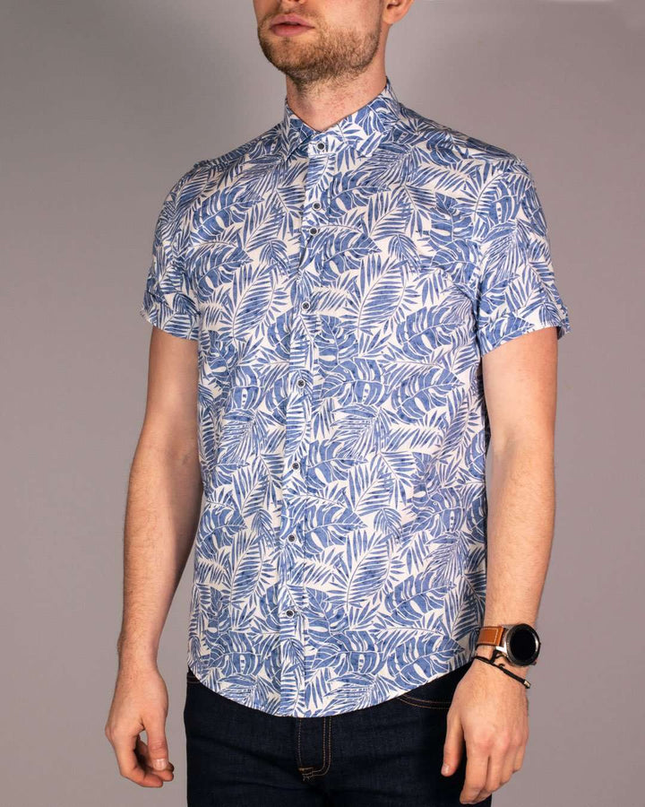 Guide London White/Sky Printed Short Sleeved Shirt