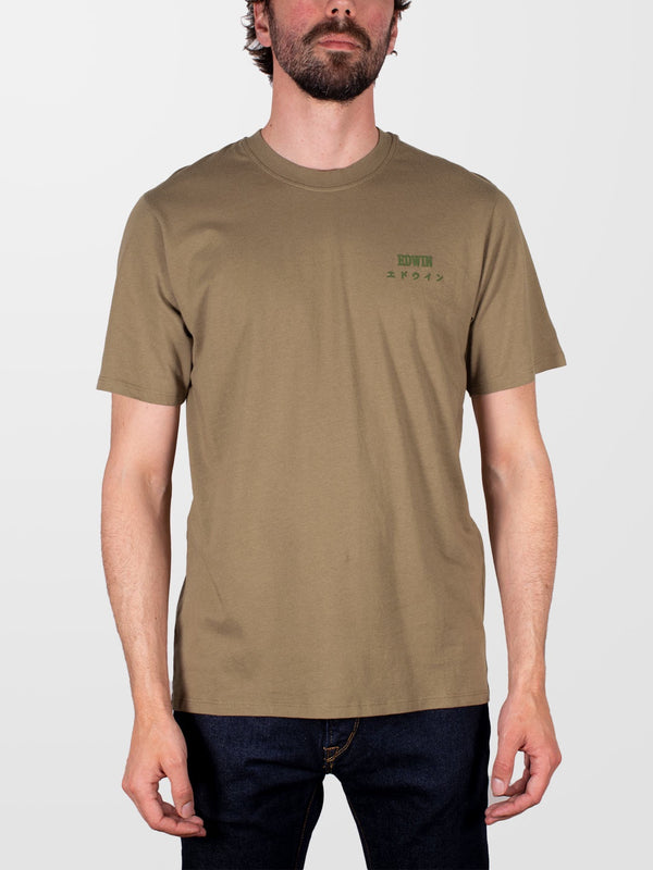 EDWIN Martini Olive Chest Logo T-Shirt