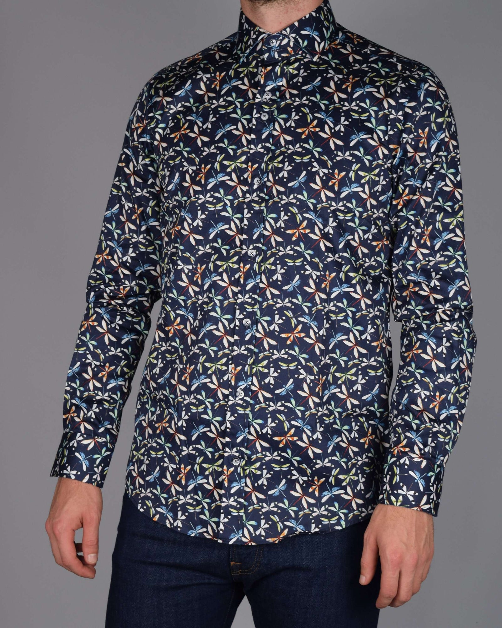 GUIDE LONDON Sateen Dragonfly Print LS Shirt - Revolver Menswear Bawtry
