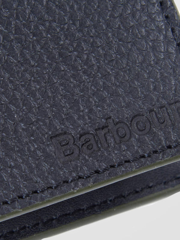 BARBOUR Black Grain Leather Billfold Coin Wallet