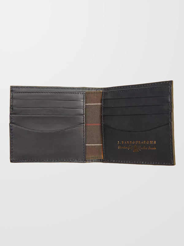 BARBOUR Black Grain Leather Billfold Wallet